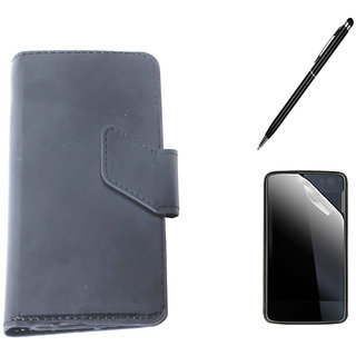 Callmate  Sticker Flip Case For Google Nexus 5 +Screen Guard +Stylus Pen - Black