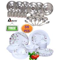 Airan 24 Pcs Stainless Steel Dinner Set Free 32 Pcs Melamine Dinner Set - 637750