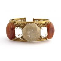The Jewelbox Designer Free Size Brass Cuff Kada Bangle Bracelet Brown Gold
