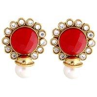 The Jewelbox Red Stone Kundan Pearl Stud Earring