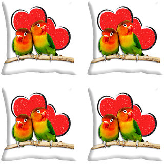 meSleep Heart Parrots Digitally Printed Cushion Covers