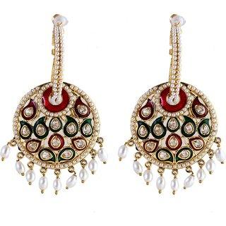 The Jewelbox Pearl Green Red Meenakari Enamel Bali Earring