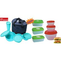 Princeware Combo Of 11 Pcs Lunch Box With Microwave Safe Round & Square Container