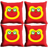 MeSleep Red Smiley Digitally Printed Cushion Covers
