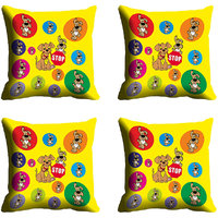 MeSleep Multi Dog Yellow Digitally Printed Cushion Covers