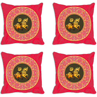 meSleep Red Horse Circle Digitally Printed Cushion Covers