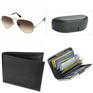 COMBO OF AVIATOR SUNGLASSES[WITH BOX] ALUMINA WALLET AND LEATHER WALLET