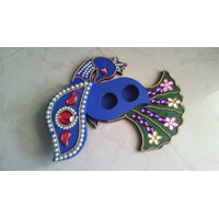 Peacock Shaped Sindoor Case Blue And Green