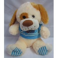 Soft Toy Sitting Dog 1 Feet = 12 Inch Coffee Color Wearing Blue Stripes T-Shirt