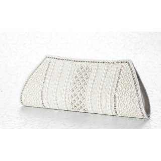 White Perl Work Party Wedding Clutch