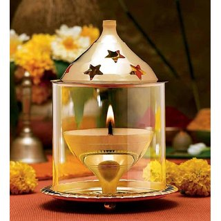Akhand Brass Diya Medium with Borosil Glass Chimney