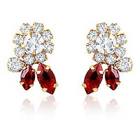 Oviya Gold Plated Red Statement Earrings With Crystal For Women