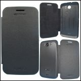BLACK LEATHER FLIP COVER CASE MATTI for MICROMAX A116 CANVAS HD MOBILE