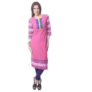 Saving Tree Long kurta with beautiful border and contrast yoke available at ShopClues for Rs.1099