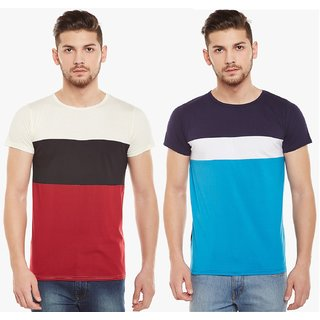 Stylogue Colour Block Half Sleeves Round Neck T-Shirt (Pack of 2)