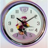 Radhika Quartz Round Wall Clock Plastic Body With Glass Casing - Purple Color