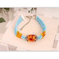 Bollywood Style Sky Blue Metal Bead Bracelet Alloy Yariyaan...