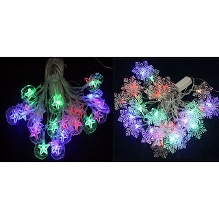 Combo Offer LED Star Moon and Snow Flakes Shaped String Lights By Everything Imp