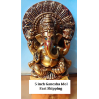 Lord Ganesh 5 Inch Idol Murti Gold Plated Best For Diwali Gift