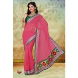 Baby Pink Faux Chiffon Designer Party Wear Saree With Zari Border SWG-G-34