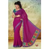 Rani Pink Faux Georgette Designer Party Wear Saree With Zari Border SWG-G-38