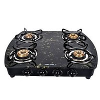 Designer Black Marble Top 4 Burner Cooktop/Gas Stove