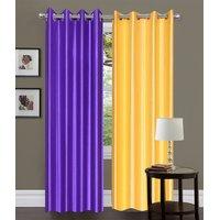 Handloomhut Beautiful Crush Curtain(Set Of 2)-Yellow & Purple