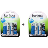 Uniross 8nos AA 1000 MAh Ni-Mh Rechargeable Batteries