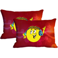 DJ Smiley Set Of 2 Pc Digitally Printed Pillow Cover(12x18)