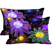 MeSleep  Multi Flower Set Of 2 Pc Digitally Printed Pillow Cover(12x18)