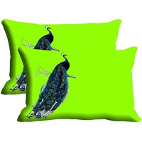 Peacock Set Of 2 Pc Digitally Printed Pillow Cover(12x18)