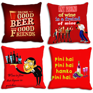 meSleep Red Cocktail Party Cushion covers -4pc combo (16x16)