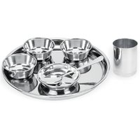 Stainless Steel 7 PC Dinner Thali Bowl Spoon Set