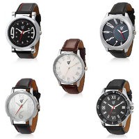 Rico Sordi Round Dial BlackBrown Leather Strap Mens Set Of 5 Watches