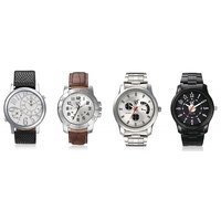 Rico Sordi Round Dial Multicolor Metal Strap Mens Set Of 4 Watches