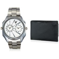 Rico Sordi Square Dial Multicolor Metal Strap Quartz Watch For Men With Wallet