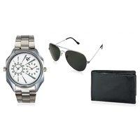 Rico Sordi Rectangle Dial Silver Metal Strap Quartz Watch For Men With Wallet