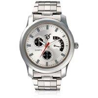 Rico Sordi Round Dial Silver Metal Strap Mens Quartz Watch