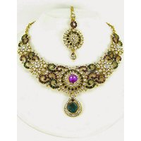 Colorful Stone Necklace Set With Mangtikka & Earrings - 64724