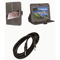 7 Inch Smart Leather Flip Cover For HCL Me Tab Connect 3g Y3 With Aux Cable