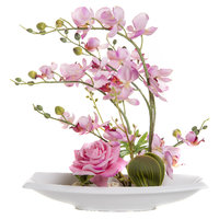 FENNEL Pink Orchid Flowers In Ceramic Tray