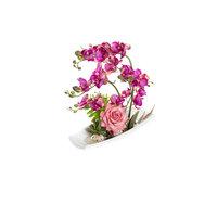 FENNEL Dark Pink Orchid Flowers In Ceramic Tray