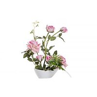 FENNEL Pink Rose Flowers With Ceramic Pot