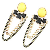 Yellow Black Rhinestone Earrings