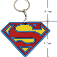 Vintage Classic Superhero Superman Logo Rubber Key Ring Chain Keychain