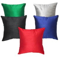 Solid Plain Multy Color Cushion Cover 5 Pcs Set 16 X 16 Inches