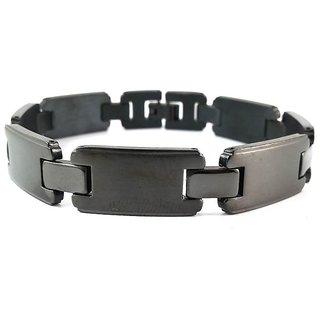 Dark Black Electro Enameled Hallmarked Stainless Steel Luxury Bracelet For Men