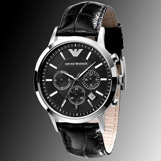 Emporio Armani Chronograph Black Dial Black Leather Men's Watch - AR2447