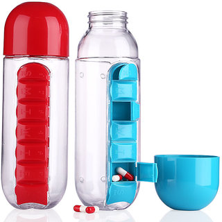 Satya Vipal combine water Bottle With Removable 7 Day pill medicine Organizer Drinking cup Asorted color