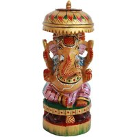 Wooden Ganesha Emboss Painted For Home Decor